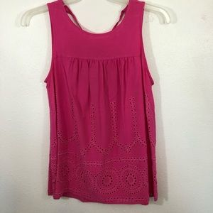 Crown&Ivy pink eyelet tank scoop neck tie back